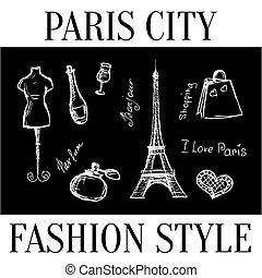 Paris city. Fashion style symbols of the city. Vector
