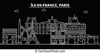 Paris city silhouette skyline. France - Paris vector city, french linear architecture, buildings. Paris travel illustration, outline landmarks. France flat icon, french line banner