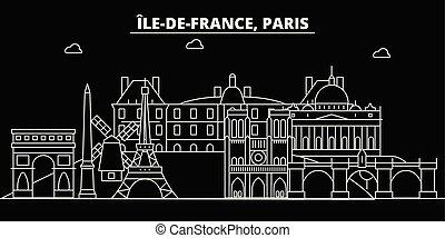 Paris city silhouette skyline. France - Paris vector city, french linear architecture, buildings. Paris travel illustration, outline landmarks. France flat icon, french line banner