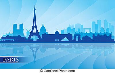 Paris city skyline silhouette background