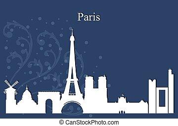 Paris city skyline silhouette on blue background