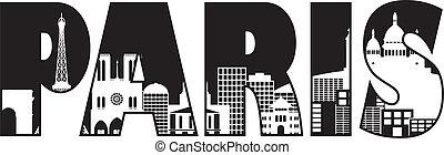 Paris France City Skyline Text Outline Black and White Silhouette Illustration