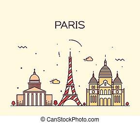 Paris City skyline Trendy vector line art