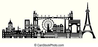 Paris City Skyline vector 1