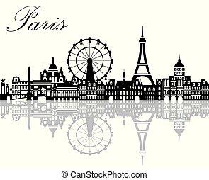 Paris City Skyline vector 2