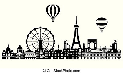 Panoramic Paris City Skyline vector Illustration in black and white colors isolated on white background. Vector silhouette Illustration of landmarks of Paris, France. Eiffel Tower, Arc de Triomphe and other.