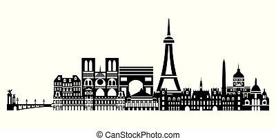 Paris City Skyline vector 4