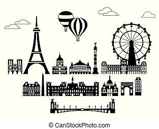 Paris City Skyline vector 6