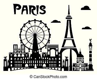 Paris City Skyline vector 7