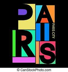 Paris City T-shirt Typography