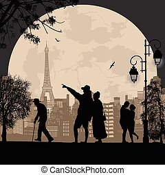 Paris cityscape and people silhouette on the street