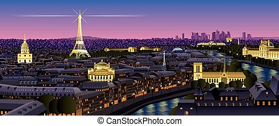 Paris cityscape at dusk. No transparency used. Basic (linear...