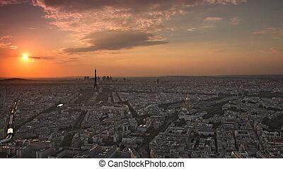 paris cityscape day to night - paris skyline aerial day to...