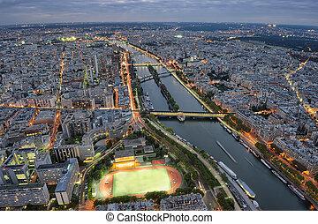 paris, cityscape, noturna