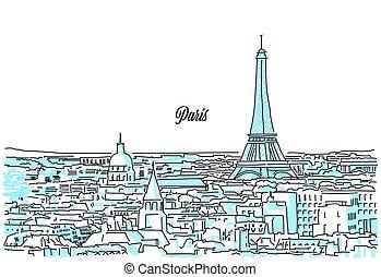 paris, cityscape, skizze