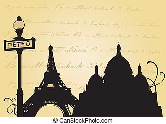 Paris - Illustration of the Eiffel tower and decorative...