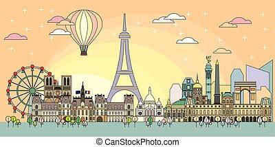 Paris colorful line art 9