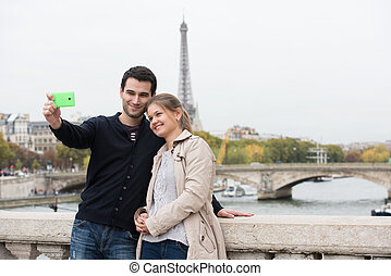 paris, confection, couple, selfie, jeune