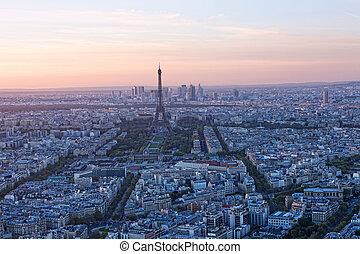 paris, Coucher soleil, aérien, vue