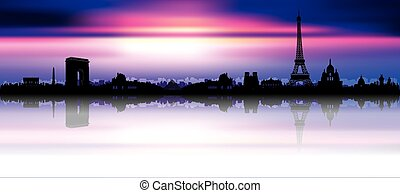paris, coucher soleil, silhouette horizon
