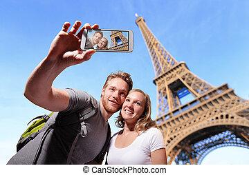 paris, couple, selfie, heureux