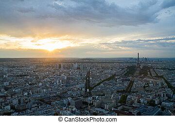 Paris, crepúsculo, aéreo, vista