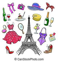 paris, croquis, mode, coloré, collection