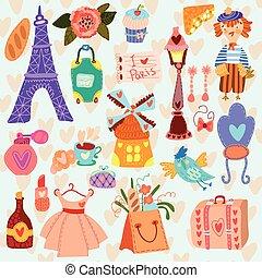 Paris cute set (A set of cartoon design elements)
