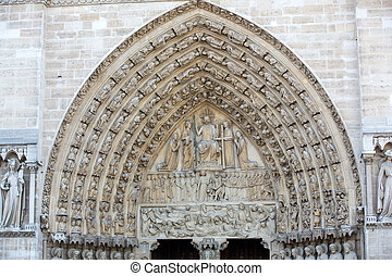 paris, dame, -, portail, jugement, cathédrale, dernier