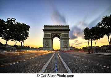 paris, de, arco, triomphe