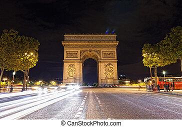 paris, de, arco, triomphe, frança