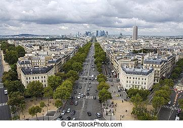 paris, de, triumph., france., arco, vista