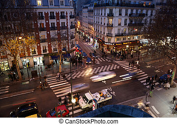 PARIS - DECEMBER 31: Brisk crossroads near subway station...
