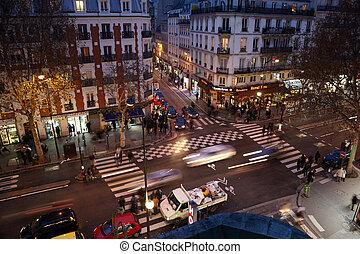 PARIS - DECEMBER 31: Brisk crossroads near subway station...