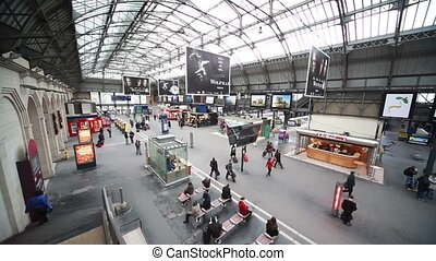 Commuters walk in Paris North Station