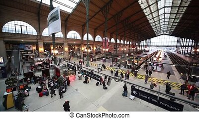 Passengers walk Pavilion in Paris North Station - PARIS -...