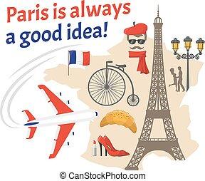 Paris Decorative Flat Icons Set