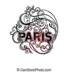 Paris doodle label illustration