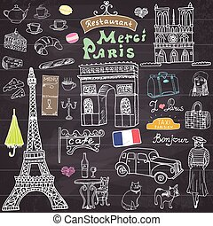 Paris doodles elements. Hand drawn