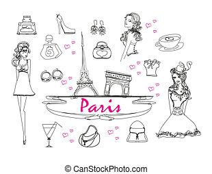Paris doodles set