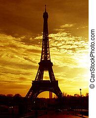 paris, eiffel, -, cedo, torre, amanhecer