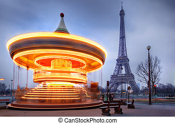 paris, eiffel, en mouvement, carrousel, tour, fin
