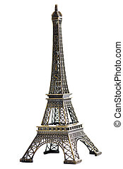 paris eiffel tower model isolated on white background in...