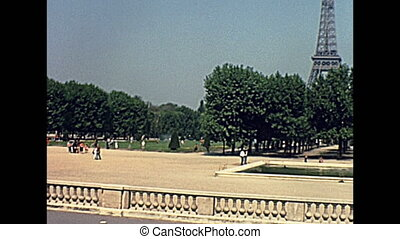 Paris Eiffel Tower panorama from Champ de Mars garden....