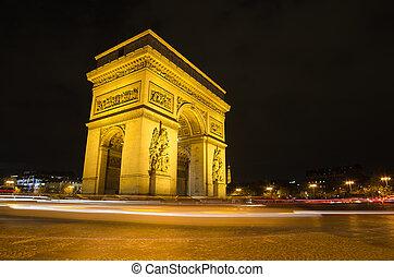 paris, estrela, arco, triunfo