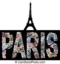 Paris euro grunge text with Eiffel Tower illustration