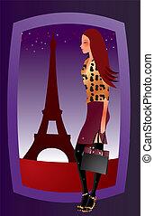 paris, excitado, menina, moda