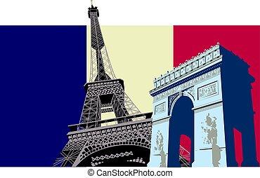 paris, fahne, frankreich
