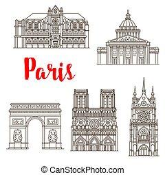 Paris famous landmark buildings and travel sightseeing architecture line icons. Vector set of Notre-Dame de Paris Cathedral, Saint Chapel church or Pantheon and Triumph Arch