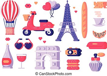 Paris famous symbols set
